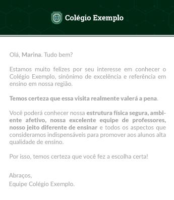 Exemplo de E-mail Transacional para escolas e colégios - Rubeus