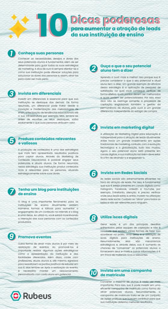 InfogInfográfico com 10 dicas poderosas para atrair mais leads - Rubeus