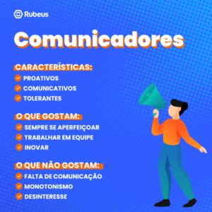 A ilustração elenca as habilidades dos profissionais com perfil de comunicadores.