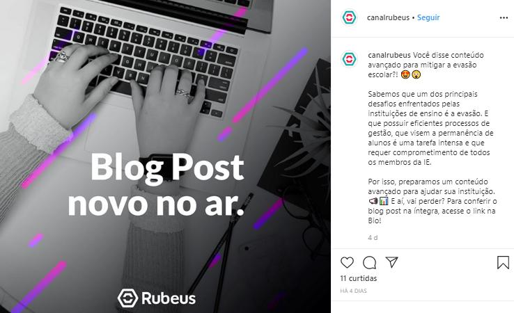 Exemplo de CTA nas redes sociais - Rubeus
