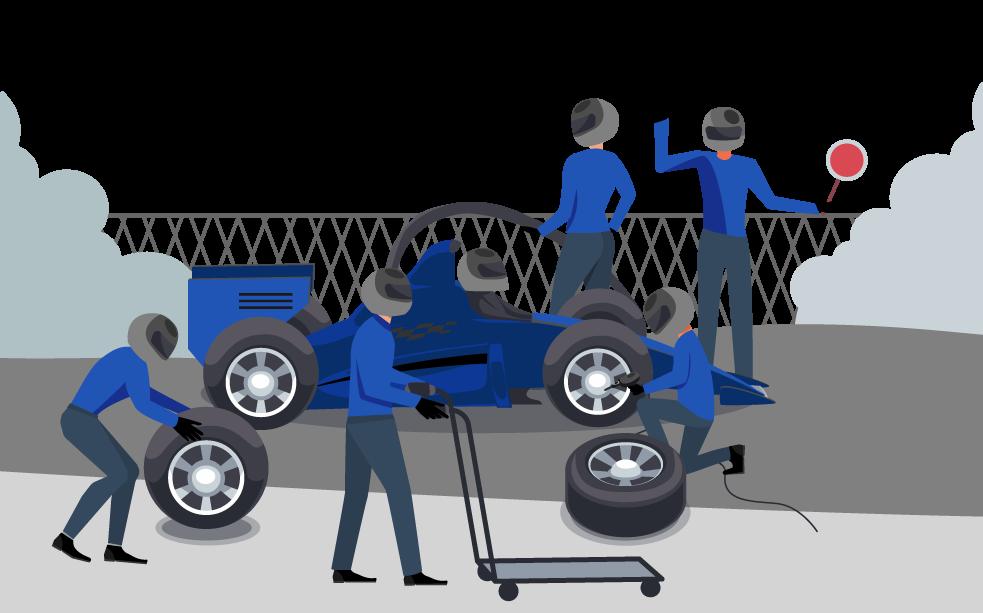 Ilustração com o objetivo de estabelecer uma semelhança entre a manutenção de automóveis na fórmula 1 e a adequação de processos em uma instituição de ensino: ambas visam a melhoria dos resultados.