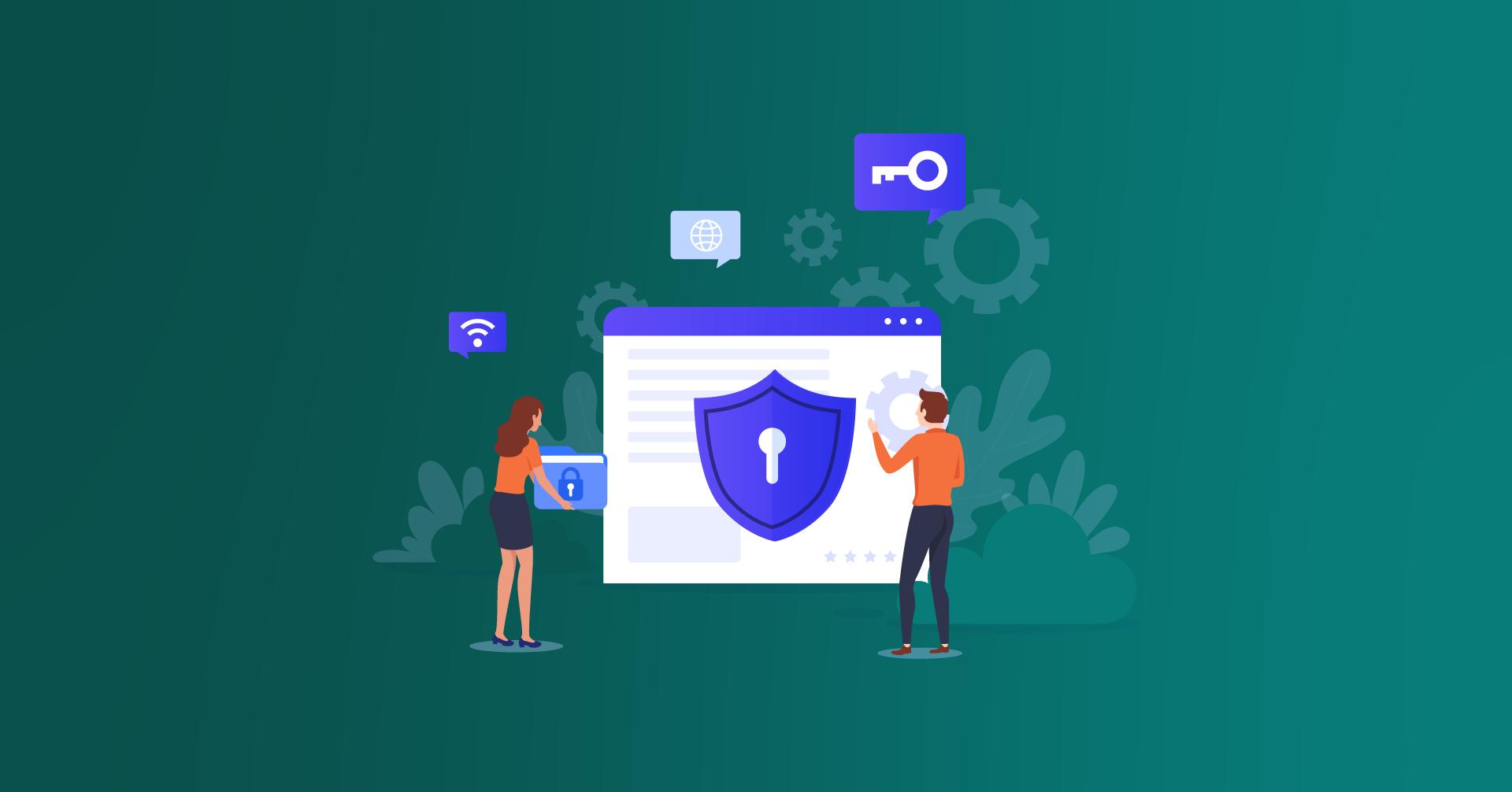 Duas pessoas trabalhando juntas na segurança de um site para respeitar as normas da LGDP.